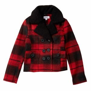 Girls Plaid Coat Red Black Double Breasted Jacket